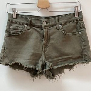 7 for all Mankind Army Green Frayed Shorts